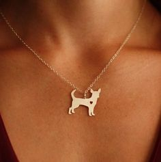 Chihuahua with a Heart Pendant w/ Necklace This delicate fine jewelry will keep your little buddy close to your heart and will make everyone around you smile! T