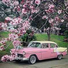 pink, flowers, and retro image Pink Love, Pretty In Pink, Pretty Pics, Carros Vintage, Vintage Cars, Antique Cars, Retro Cars, Vintage Pink, Chevrolet Bel Air