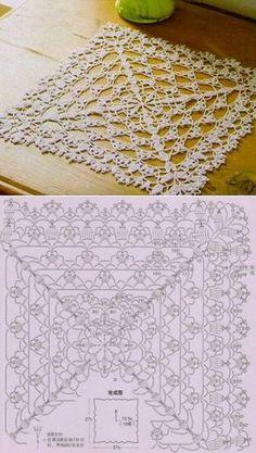Crochet Table Runner Pattern, Crochet Doily Patterns, Crochet Blocks, Crochet Tablecloth, Crochet Diagram, Thread Crochet, Crochet Motif, Irish Crochet, Crochet Doilies