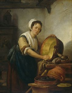 Abraham van Strij  1753-1826-Painting of a maid. Mostly maids wore plain clothes during the 18th century. Uniforms were not as common.