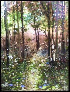 "Daily Paintworks - ""Blue Bell Forest Walk"" - Original Fine Art for Sale - © Kelly Alge"