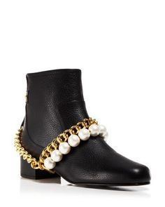 Boutique Moschino Booties - Faux-Pearl Chain | Bloomingdale's