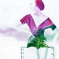 """Magenta- green Maria Bejarano · watercolour Collection: SAY CHEESE! """"A photographer's instruction just before taking a picture, in order to make people smile"""" La cultura Pop, imágenes de los años 50 en los medios de comunicación, separadas de su contexto y combinadas con graffitis, para mediante la ironía crear imágenes optimistas y vitales que hagan sonreír."""