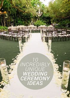 From seating to location, from flowers to backdrops, here are 10 most epic ideas for your wedding's ceremony: http://www.colincowieweddings.com/inspiration-and-details/10-incredibly-unique-wedding-ceremony-ideas