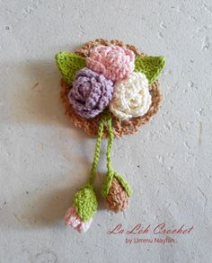 Crochet Pattern: A Bunch of Roses and Mini Doily; crochet flower applique, brooch, accessories, digital download by LaLehCrochet on Etsy