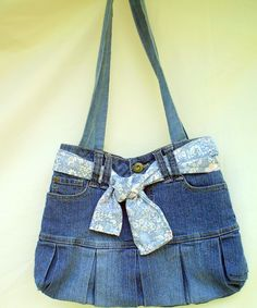 Jean bag with a twist OOAK must see purse by Hard2findFABRICS, $15.00