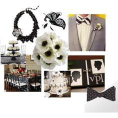 Vintage Cameo black and white wedding inspiration board