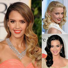 Katy Perry Frisuren, Frisuren für lange und mittelklange Haare für den roten Teppich, Haarfrisuren mit Locken