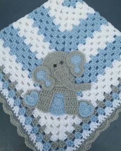 Sitting Elephant Blue and White Baby Blanket / Crochet Baby Blanket / Baby Shower Gift For Boy / Elephant Theme Gift / Newborn Blanket Sitting Elephant With Blue Ears Baby Blanket, Crochet Elephant Baby Blanket, Baby Shower Gift For Bo Elephant Baby Blanket, Elephant Applique, Crochet Elephant, Elephant Theme, Baby Boy Blankets, Elephant Shower, Blue Baby Blanket, Crochet Baby Blanket Beginner, Crochet Blanket Patterns