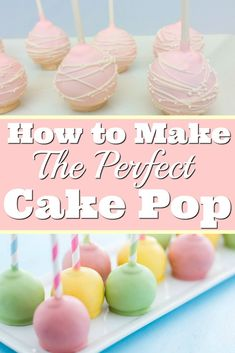 How to make the perfect cake pops easy beginner tutorial. How to Make Cake Pops: I love this guide! It is so easy to learn from a professional baker and get the top tips to achieve perfect cake pops. Searching for an easy cake pop recipe! Oreo Cake Pops, Cake Pops Frosting, Cookie Pops, Luau Cake Pops, No Bake Cake Pops, Food Cakes, Cupcake Cakes, Mini Cakes, Paletas Chocolate