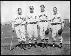 """File name: 08_06_010365 Title: Red Sox Creator/Contributor: Jones, Leslie, 1886-1967 (photographer) Date created: 1936 Physical description: 1 negative : glass, black & white ; 4 x 5 in. Summary: (l to r:) Boston Red Sox Jimmie Foxx, Heinie Manush, Roger """"Doc"""" Cramer, and Eric McNair at Fenway Park. Genre: Glass negatives Subjects: Boston Red Sox (Baseball team); Baseball players Notes: Original data provided by Leslie Jones or the Boston Public Library on the negative or negative..."""