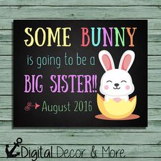 Easter Pregnancy Announcement Chalkboard Poster Printable | Some Bunny | Big Sister | Pregnancy Reveal | Easter | Expecting | Digital File
