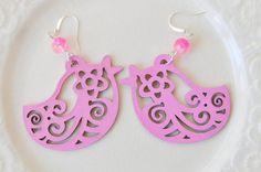 Openwork wood pink earrings by twocatsboutique on Etsy, $12.00