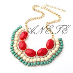 Red Teal Bubble bib Fan Frange Statement necklace, Cheap necklace