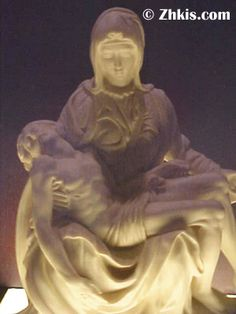 Pieta statue y Michelangelo eliminated by one of our lighted pedestals. Makes this piece a humbling and thought provoking. As the light comes up around Jesus and lights up Mary's face. A beautiful display of light and shadow.