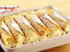 Gebackene Vanillecreme-Crêpes