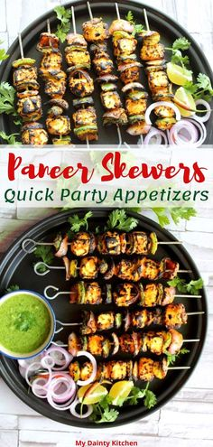 Paneer skewers are easy and quick appetizers. These are also popular as tikka in India. So these paneer tikka are made on stovetop without barbeque machine or oven. These are protein rich and healthy for kids.  #paneerskewers, #paneertikka, #appetizers, #snacks, #paneerrecipes, #indiantikka, #tikkaonstovetop Indian Starter Recipes, North Indian Recipes, Indian Food Recipes, Vegetarian Recipes, Indian Snacks, Veg Recipes, Cooking Recipes, Quick And Easy Appetizers, Great Appetizers