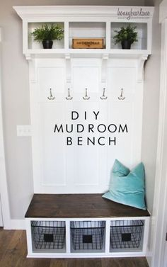 DIY mudroom bench - this is a great little makeover that you can easily do to convert a nice space into a mudroom! Love this idea and the decor is so simple and cute!