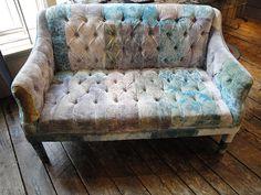 patchwork velvet sofa, original source unknown