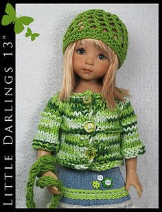 """Green Outfit for Little Darlings Effner 13"""" by Maggie and Kate Create 
