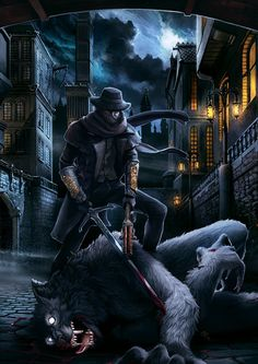 End of the Hunt by engelszorn on DeviantArt Dark Fantasy Art, Fantasy Rpg, Fantasy Male, Dark Souls, Werewolf Vs Vampire, Soul Saga, Bloodborne Art, Old Blood, Wicked Game