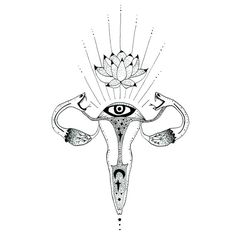 Sacred Ovaries - Art Print - 6x6 ( limited edition ) / MerakiLabbe / Anatomical <3
