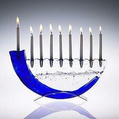Shofar Menorah: Joel and Candace Bless: Art Glass Menorah   Artful Home FOR DAD!!