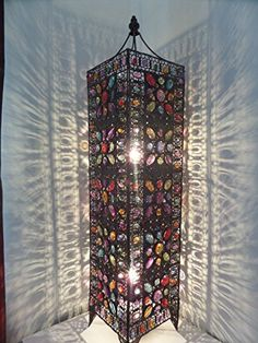 Large Moroccan Floor Lamp - 65cm x 20cm - Stylish Cutwork Jeweled ...