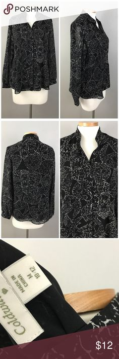 "Coldwater Creek Black Button Up Patterned Blouse Coldwater Creek Black Button Up Patterned Blouse. Size medium. Thank you for looking at my listing. Please feel free to comment with any questions (no trades/modeling).  •Bust: 41"" •Length: 26"" •Condition:  VGUC, no visible flaws.   25% off all Bundles or 3+ items! Reasonable offers welcome.   BIN: JC Coldwater Creek Tops Button Down Shirts"