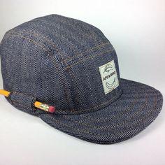 Handmade 5 panel cap. Indigo Herringbone Denim hat by ApeNBird -- the pencil pocket is brilliant!!