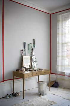 white trim, dove-gray walls, red outline / paul raeside • gorgeous things and interiors