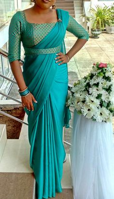 beautiful jade colour saree and brocade jacket with waist band. just like a made up saree. Brocade Blouse Designs, Saree Jacket Designs, Saree Blouse Neck Designs, Stylish Blouse Design, Fancy Blouse Designs, Saree Blouse Patterns, Saree Styles, Saree Draping Styles, Indian Designer Outfits