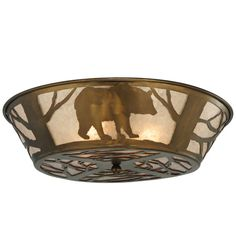 A Wildlife Inspired Black Bear Framed In Trees Circles This Branch Accented Flushmount Fixture. The Rustic Fixture Has Silver Mica Framed In Antique Copper, And Is Handcrafted In The USA By Meyda Artisans.