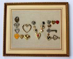 Vintage jewelry artwork.  Hearts = Love! #jewelryfindsllc #jewelryfindscom #homedecor  #VintageJewelry