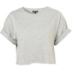 TOPSHOP Roll Back Crop Tee ($6) ❤ liked on Polyvore featuring tops, t-shirts, shirts, crop tops, grey marl, roll up sleeve shirt, crop top, sleeve shirt, grey shirt and cotton shirts