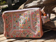 Tribal Vintage Hmong Purse Made With Upcycled Hmong  Hilltribe Textile Hand Made. $10.00, via Etsy.