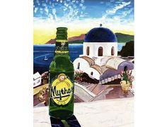 Mythos Greek Beer Art Print, Santorini, Greece Gift, Imerovigli, Balcony to the Aegean, Anniversary Gift for Him, Sunset Painting, Bar Art Santorini Island, Santorini Greece, Beer Art, Greece Islands, Greek, Art Prints, Balcony, Gift