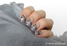 Brown striping tape nail art via Mari´s Nail Polish Blog