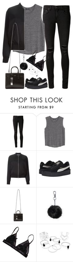 """Untitled#4090"" by fashionnfacts ❤ liked on Polyvore featuring rag & bone/JEAN, MANGO, T By Alexander Wang, Puma, Yves Saint Laurent and Topshop"