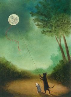 """Once upon a Time, the Moon dreamt he was a Kite, painting"