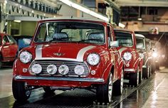 Some of the final production cars on the line at Longbridge