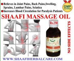 , reduce stress and bring a feeling of well-being. After experiencing the subtle, positive effects of body massage with our herbal oil, you will naturally be encouraged to continue this ritual and reap the benefits. After using Shaafi Massage Oil, above mentioned problems will be cured for sure. This oil is 100% Natural & Pure and is free from side effects..