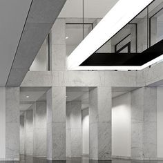 Lobby of the 21 Europaallee office by Max Dudler. Beautiful grided  interior.