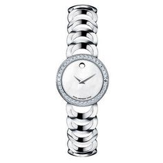 Ladies' Movado Rondiro Stainless Steel Watch with Diamond Bezel(Model: 0606252)