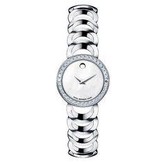 Ladies' Movado Rondiro Stainless Steel Watch with Diamond Bezel(Model: 0606252)