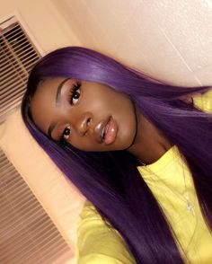 Sapphire Blue High Temperature Fiber Deep U Full Hair Wigs Long Natural Straight Synthetic Lace Front Wig For Women Purple Hair Black Girl, Purple Wig, Purple Weave, Purple Ombre, Colored Wigs, Coloured Hair, Lace Front Wigs, Lace Wigs, Hair Color For Dark Skin