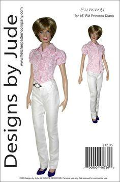 "Reminisce Doll Clothes Sewing Pattern 16/"" Franklin Mint Princess Diana Dolls"