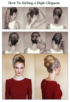 How to Styling a High Chignon. An Audrey Hepburn-Esque High Chignon Vintage Hairstyles Tutorial, Retro Hairstyles, Wedding Hairstyles, Vintage Updo Tutorial, Hairstyle Tutorials, Vintage Hair Tutorials, 1960s Hair Tutorial, Vintage Hairstyles For Long Hair, Peinados Pin Up