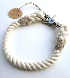 Natural Rope Dog Collar Non Choke Collar by EmiiDesignsStudio