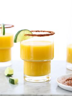 Mango Margarita with Chile Salt and Lime foodiecrush.com #recipe #cocktail #mexican